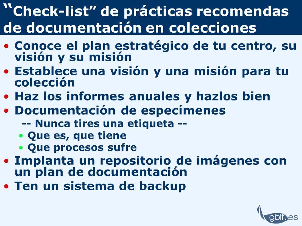 Check-list de prácticas recomendas de documentación en colecciones