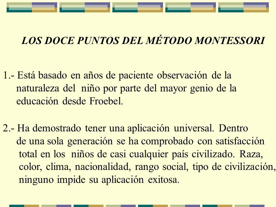 LOS DOCE PUNTOS DEL MÉTODO MONTESSORI