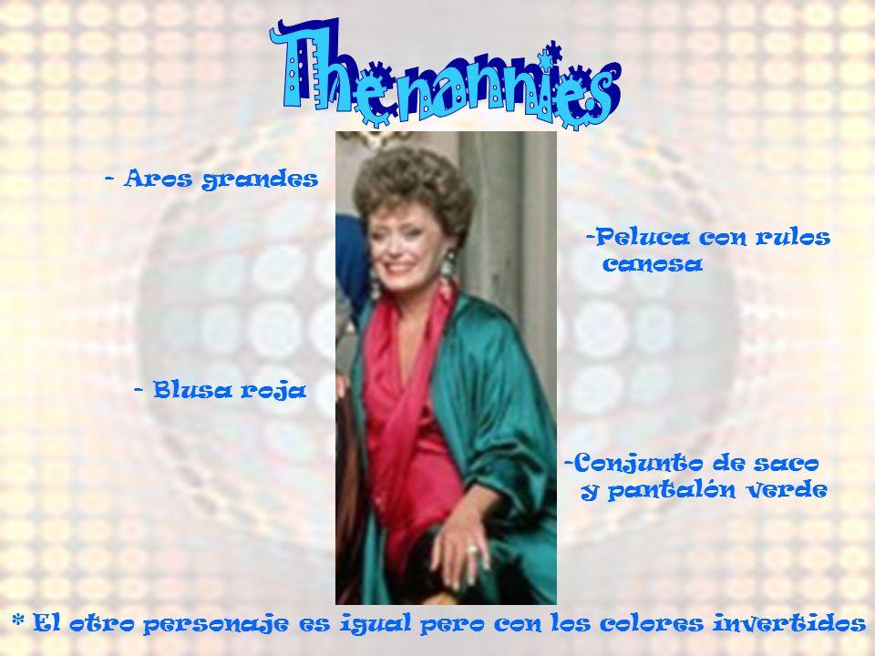 The nannies - Aros grandes Peluca con rulos canosa - Blusa roja