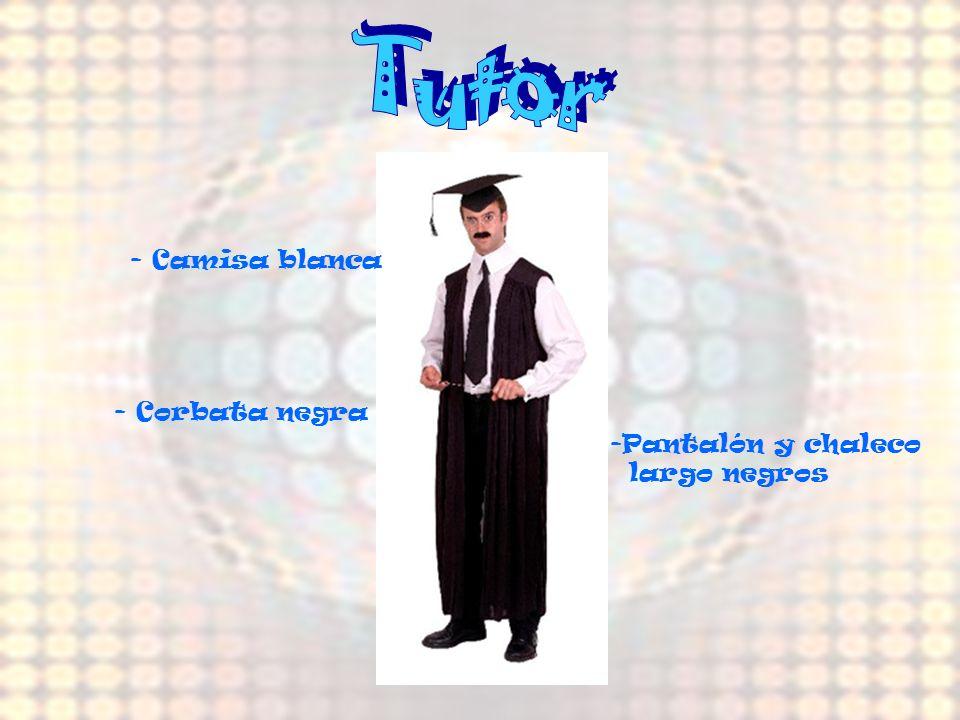 Tutor - Camisa blanca - Corbata negra Pantalón y chaleco largo negros