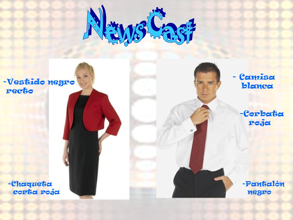 News Cast Camisa Vestido negro blanca recto Corbata roja Chaqueta