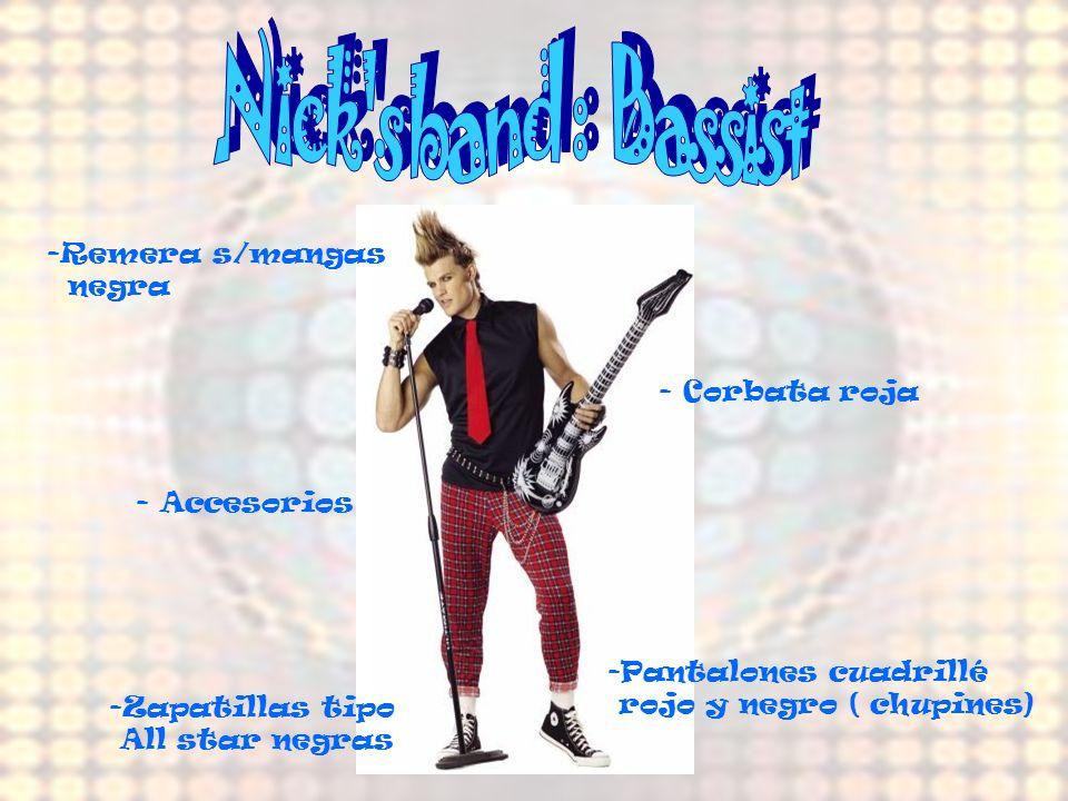 Nick s band : Bassist Remera s/mangas negra - Corbata roja