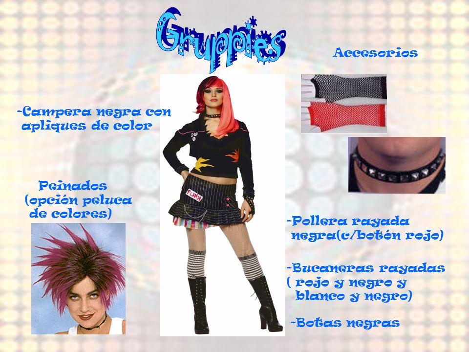 Gruppies Accesorios -Campera negra con apliques de color Peinados