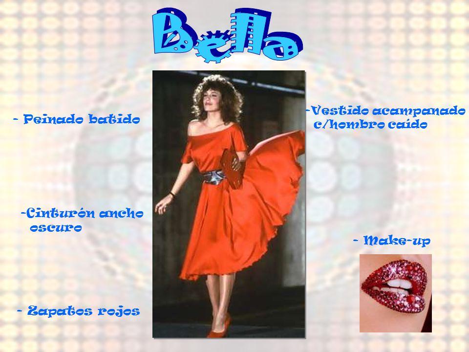 Bella - Peinado batido Cinturón ancho oscuro - Make-up - Zapatos rojos