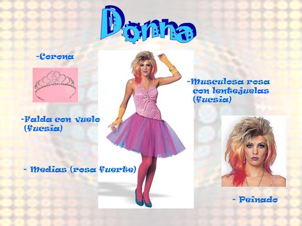 Donna -Corona Musculosa rosa con lentejuelas (fucsia) Falda con vuelo
