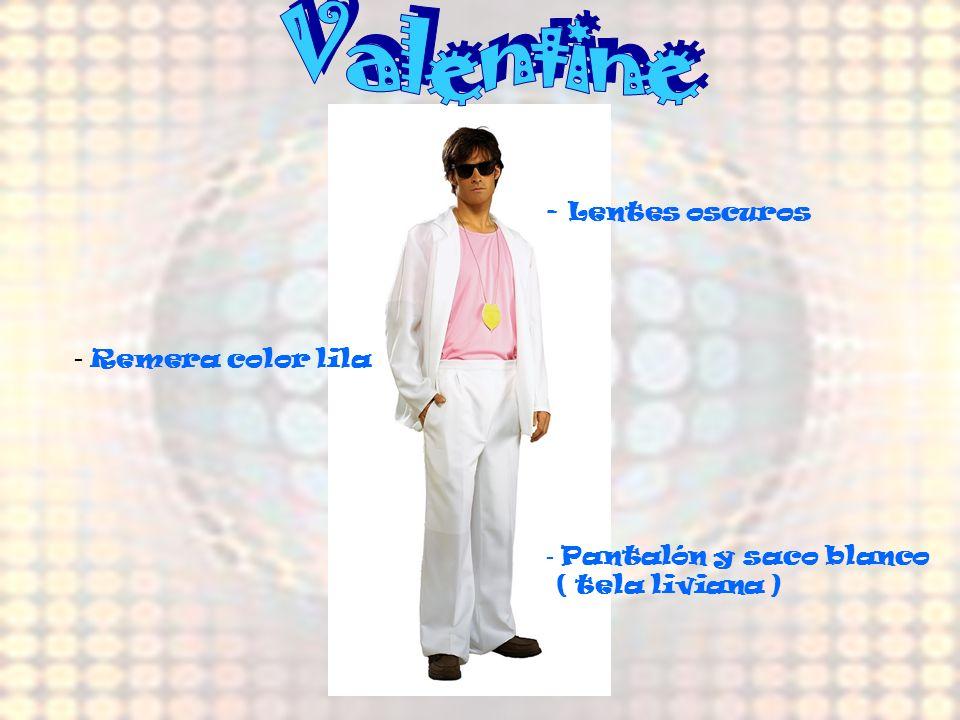 Valentine Remera color lila Lentes oscuros - Pantalón y saco blanco