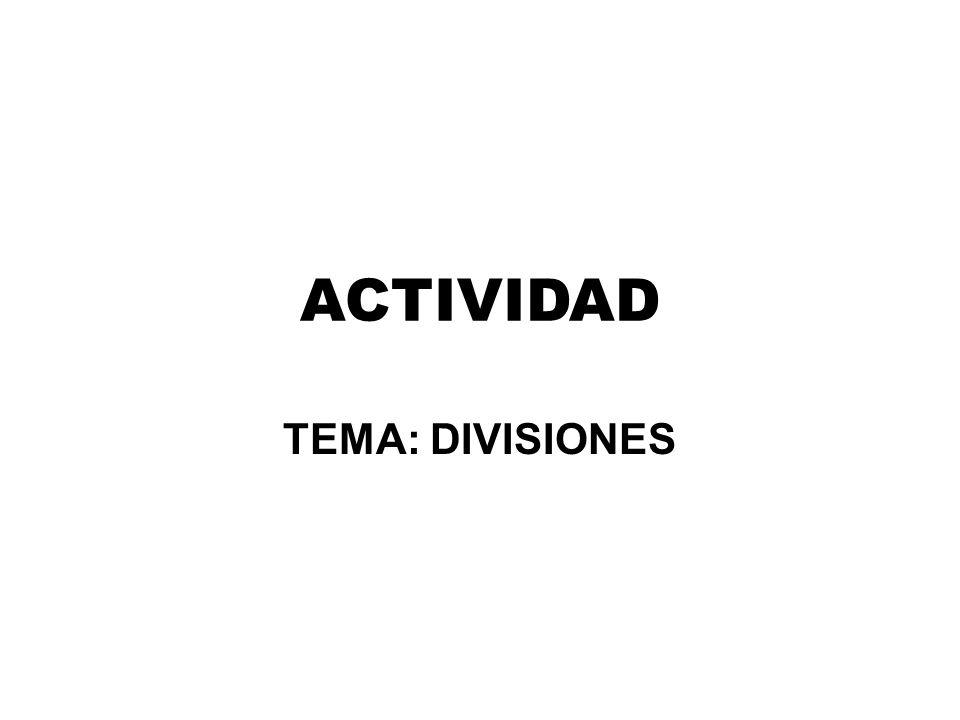 ACTIVIDAD TEMA: DIVISIONES