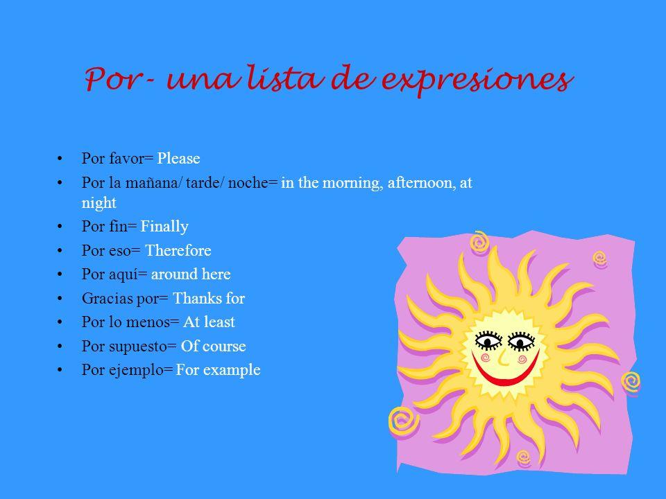 Por- una lista de expresiones
