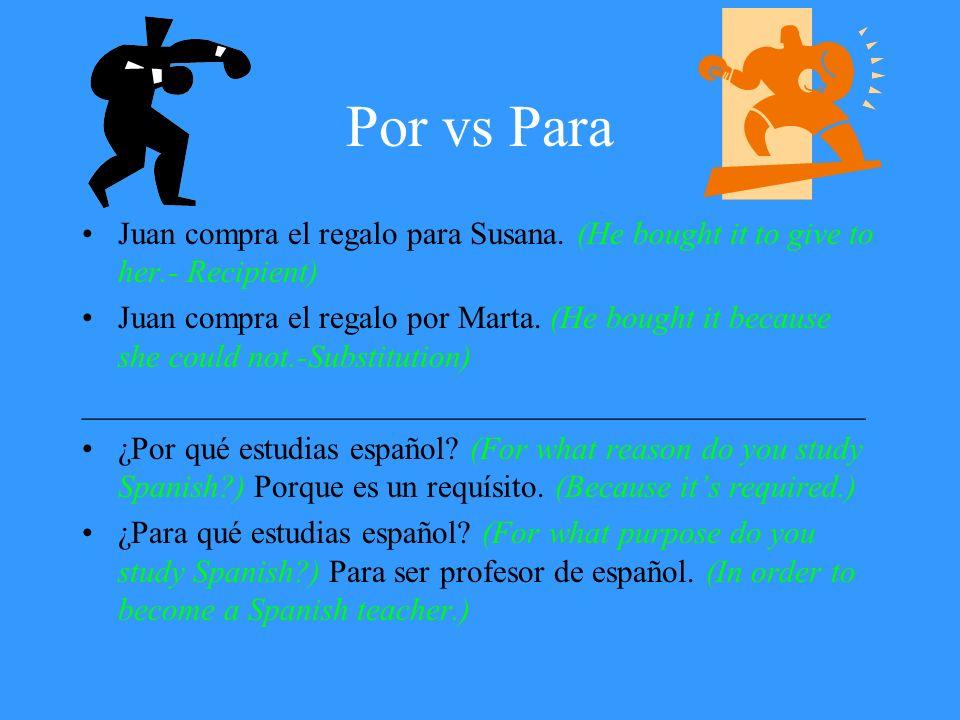 Por vs Para Juan compra el regalo para Susana. (He bought it to give to her.- Recipient)