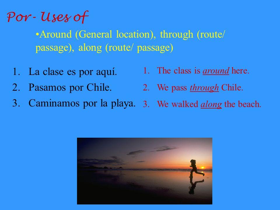 Por- Uses of Around (General location), through (route/ passage), along (route/ passage) La clase es por aquí.