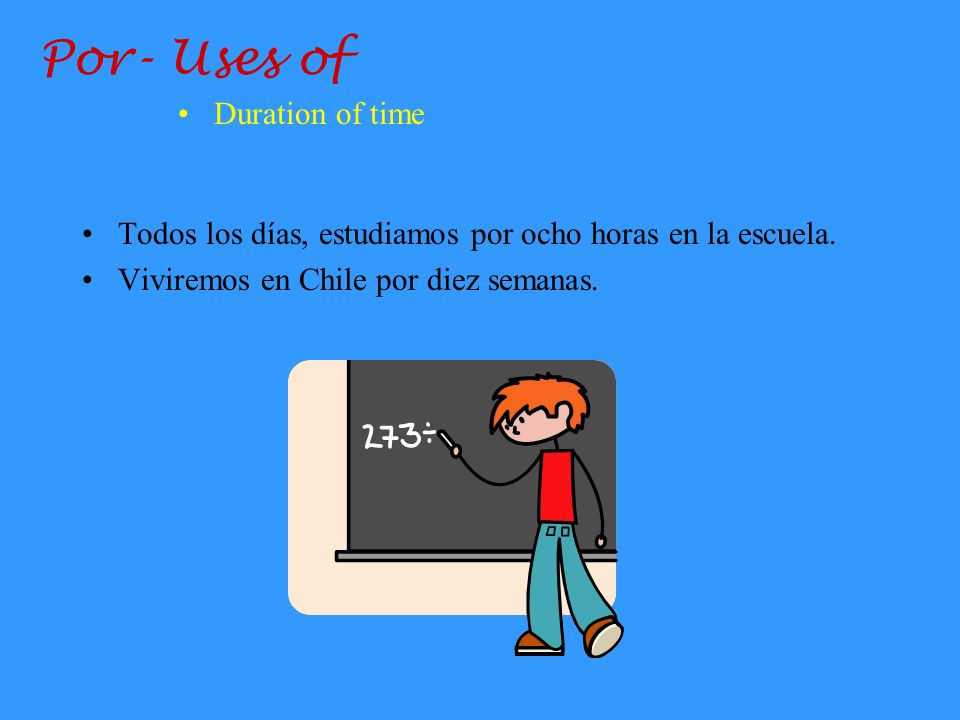 Por- Uses of Duration of time