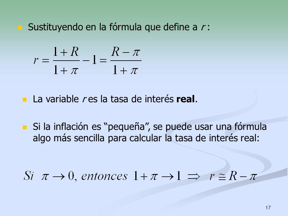 Sustituyendo en la fórmula que define a r :