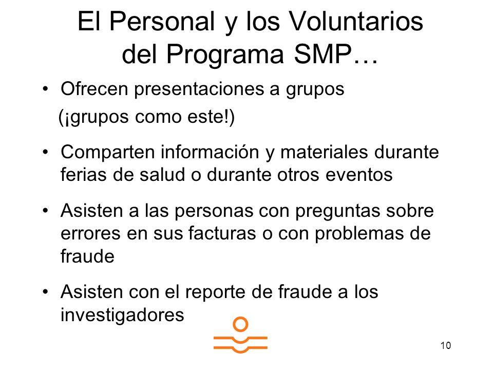 El Personal y los Voluntarios del Programa SMP…