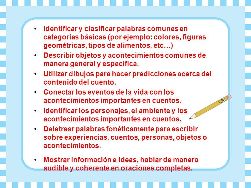Identificar y clasificar palabras comunes en categorías básicas (por ejemplo: colores, figuras geométricas, tipos de alimentos, etc…)