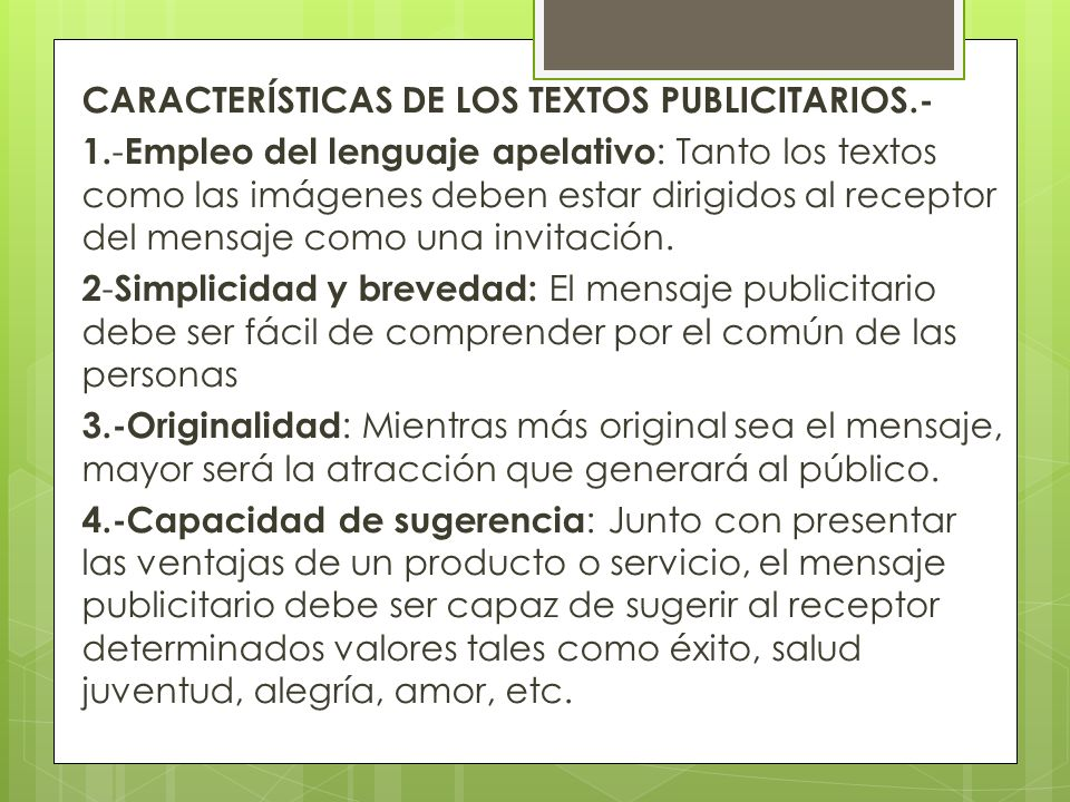 CARACTERÍSTICAS DE LOS TEXTOS PUBLICITARIOS. - 1