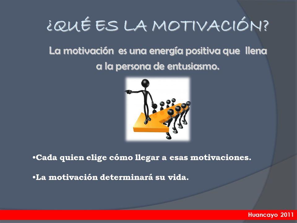¿QUÉ ES LA MOTIVACIÓN La motivación es una energía positiva que llena a la persona de entusiasmo.