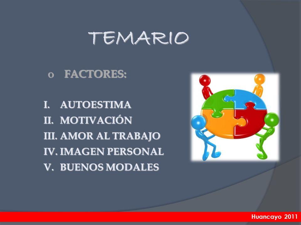 TEMARIO FACTORES: AUTOESTIMA MOTIVACIÓN AMOR AL TRABAJO