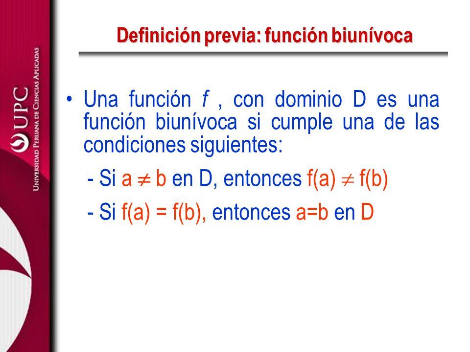 Definición previa: función biunívoca