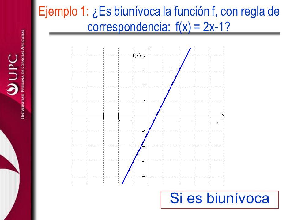 Ejemplo 1: ¿Es biunívoca la función f, con regla de correspondencia: f(x) = 2x-1