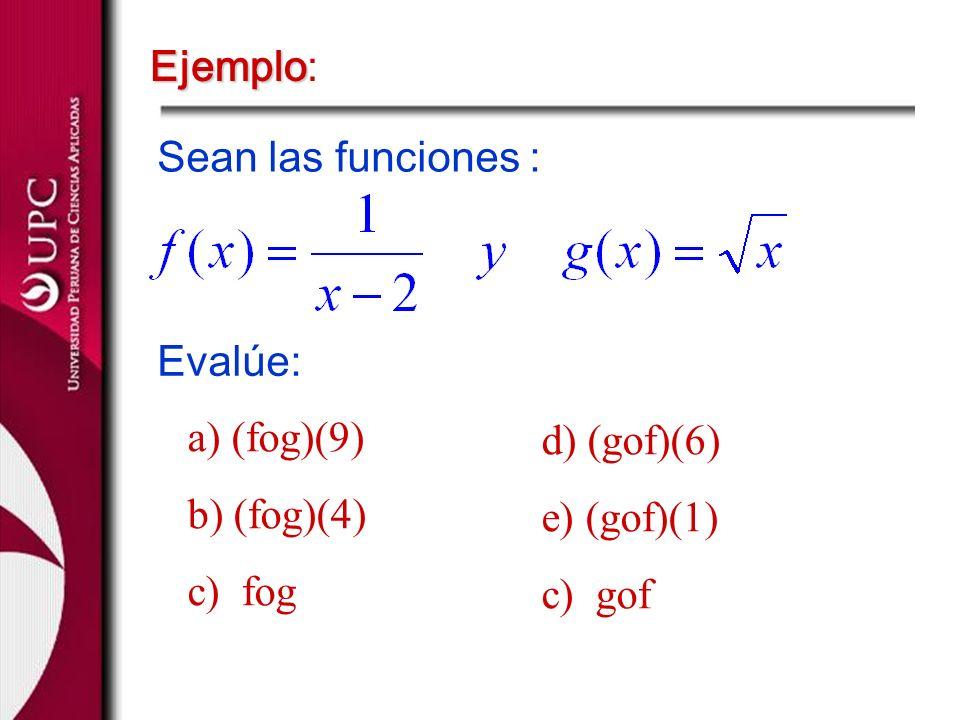 Ejemplo: Sean las funciones : Evalúe: a) (fog)(9) b) (fog)(4) c) fog. d) (gof)(6) e) (gof)(1)