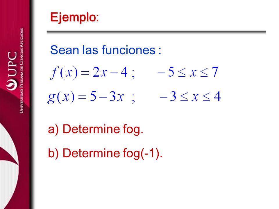 Ejemplo: Sean las funciones : a) Determine fog. b) Determine fog(-1).
