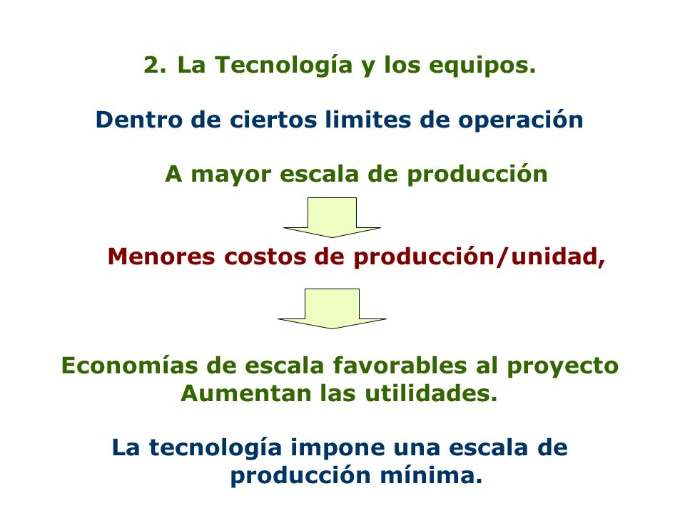 La Tecnología y los equipos. Dentro de ciertos limites de operación