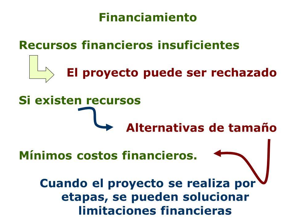 Financiamiento Recursos financieros insuficientes. El proyecto puede ser rechazado. Si existen recursos.