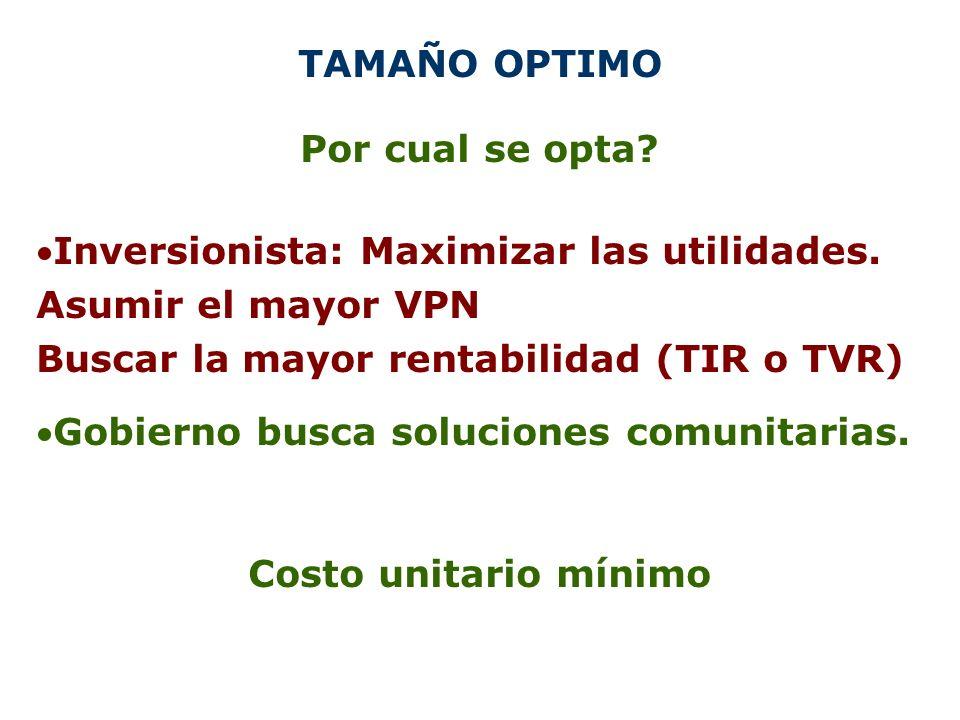 TAMAÑO OPTIMO Por cual se opta Inversionista: Maximizar las utilidades. Asumir el mayor VPN. Buscar la mayor rentabilidad (TIR o TVR)