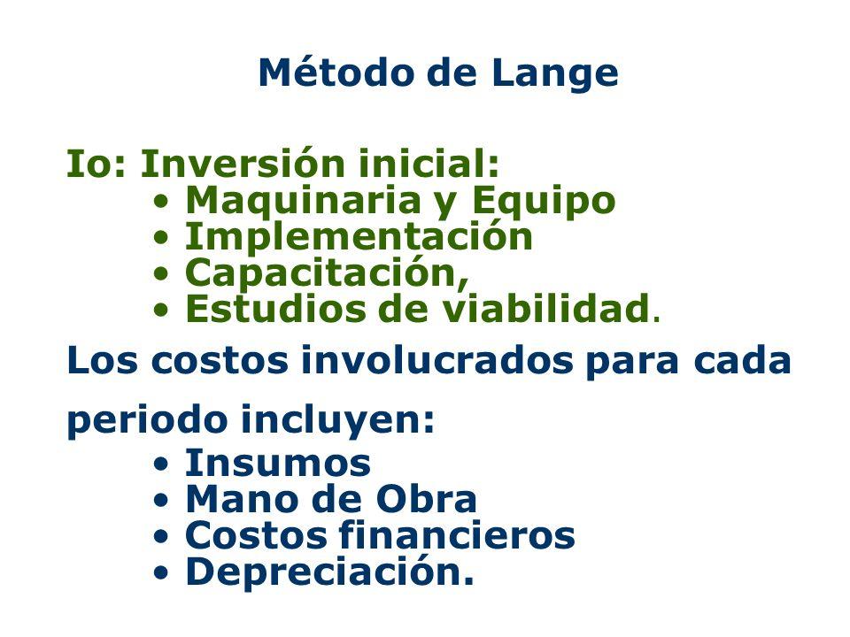Método de Lange Io: Inversión inicial: Maquinaria y Equipo. Implementación. Capacitación, Estudios de viabilidad.