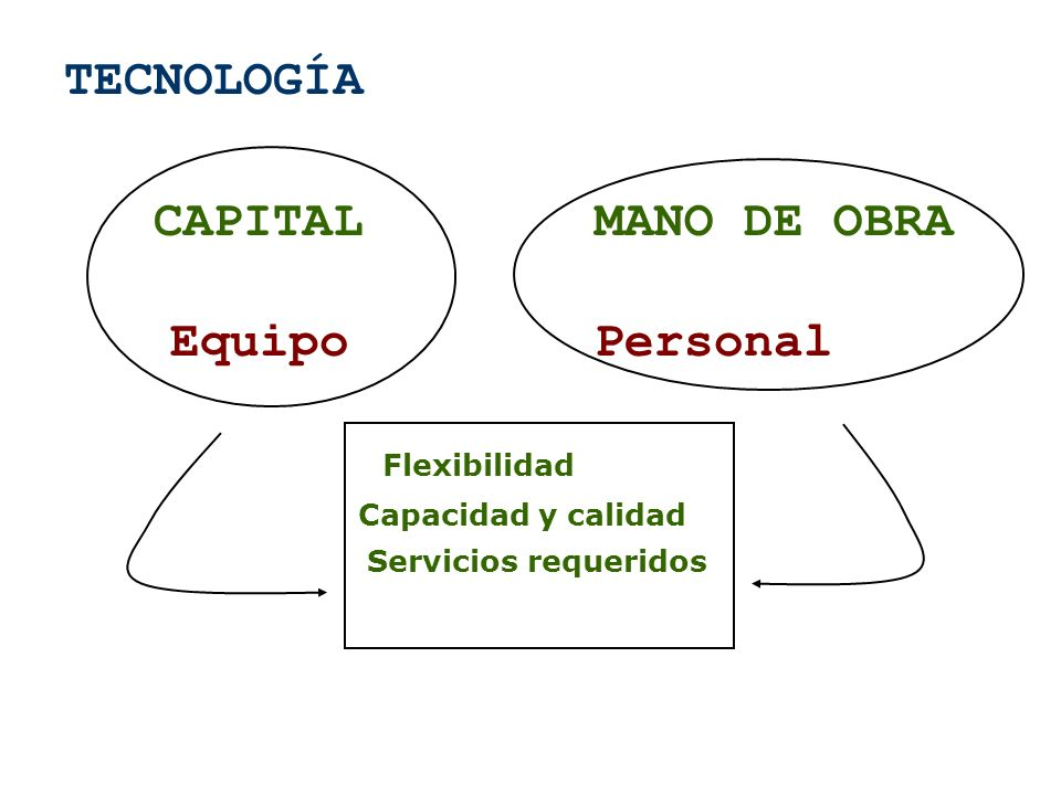 TECNOLOGÍA CAPITAL MANO DE OBRA Equipo Personal Flexibilidad