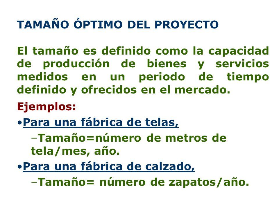TAMAÑO ÓPTIMO DEL PROYECTO