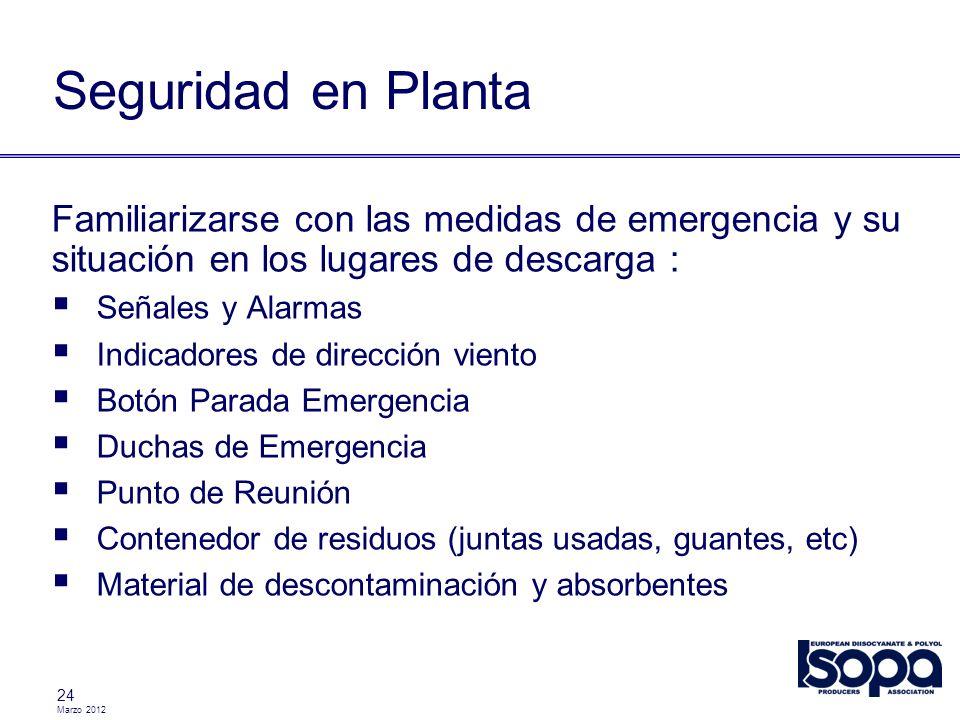 Seguridad en Planta Familiarizarse con las medidas de emergencia y su situación en los lugares de descarga :