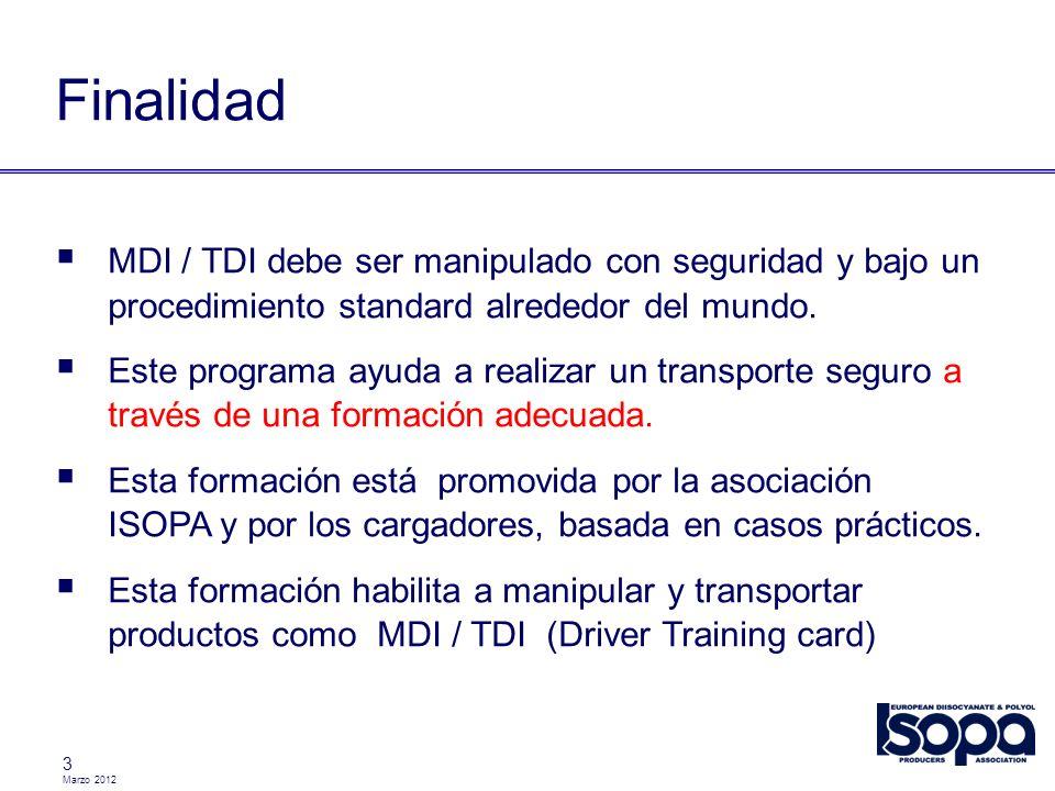 Finalidad MDI / TDI debe ser manipulado con seguridad y bajo un procedimiento standard alrededor del mundo.