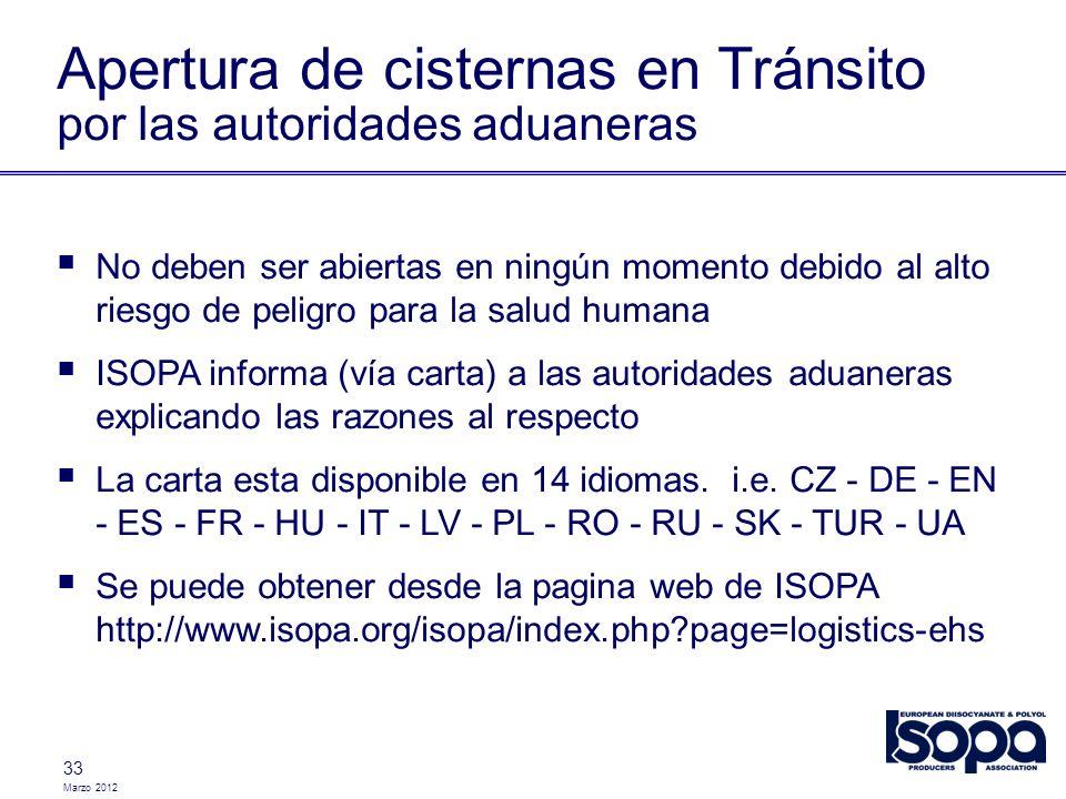 Apertura de cisternas en Tránsito por las autoridades aduaneras