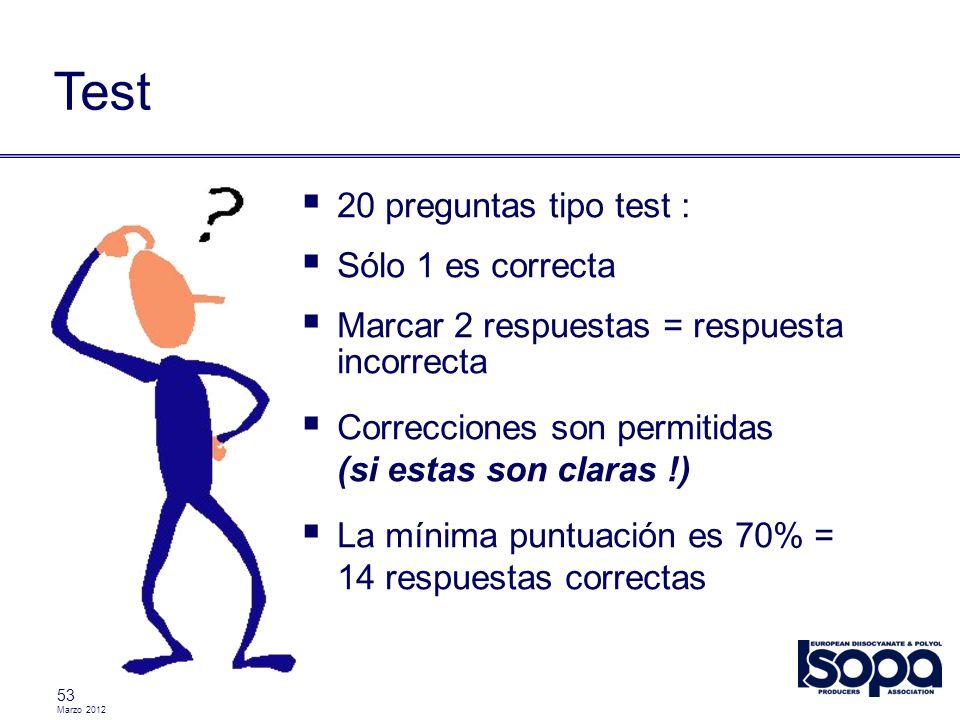 Test 20 preguntas tipo test : Sólo 1 es correcta