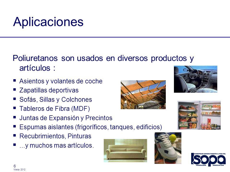 Aplicaciones Poliuretanos son usados en diversos productos y artículos : Asientos y volantes de coche.