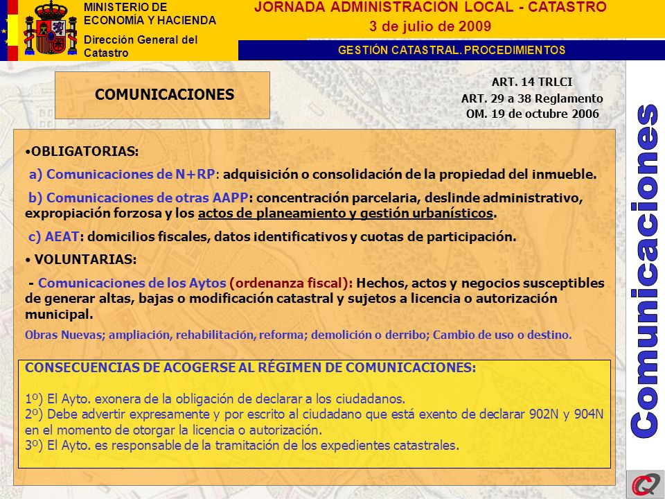 Comunicaciones COMUNICACIONES OBLIGATORIAS: