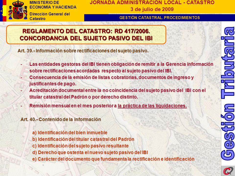 Gestión Tributaria REGLAMENTO DEL CATASTRO: RD 417/2006.