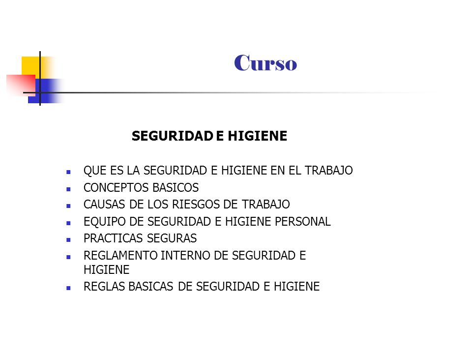 Curso SEGURIDAD E HIGIENE QUE ES LA SEGURIDAD E HIGIENE EN EL TRABAJO