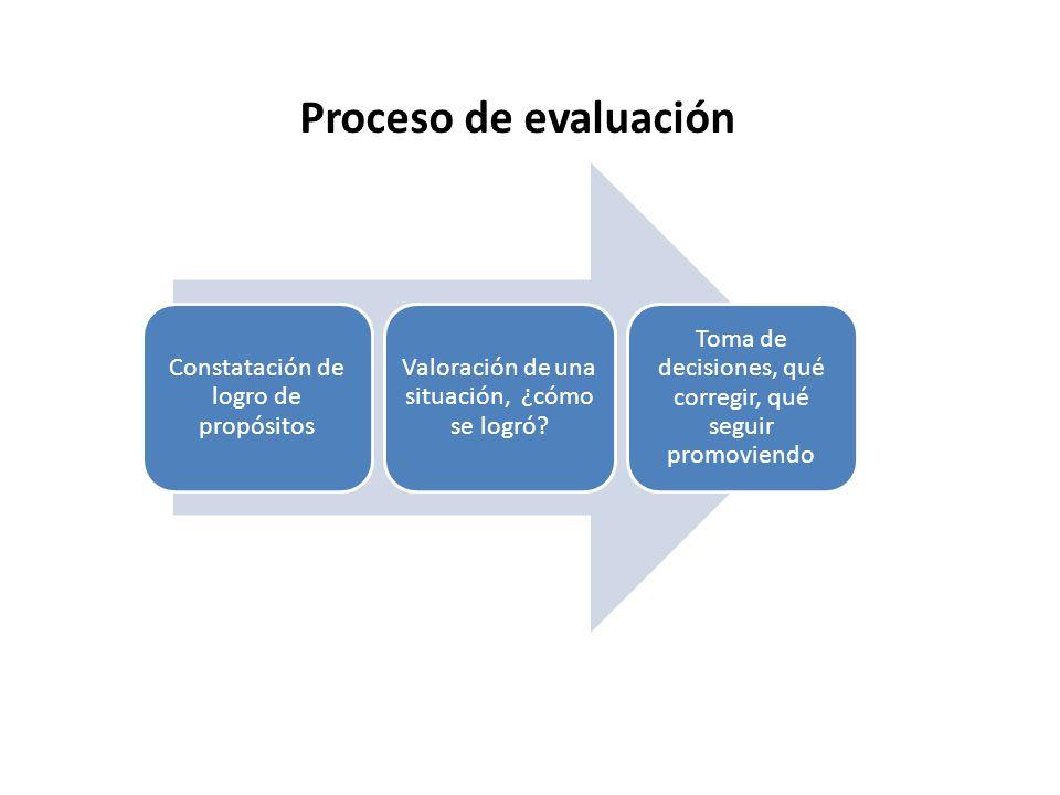 Proceso de evaluación Constatación de logro de propósitos