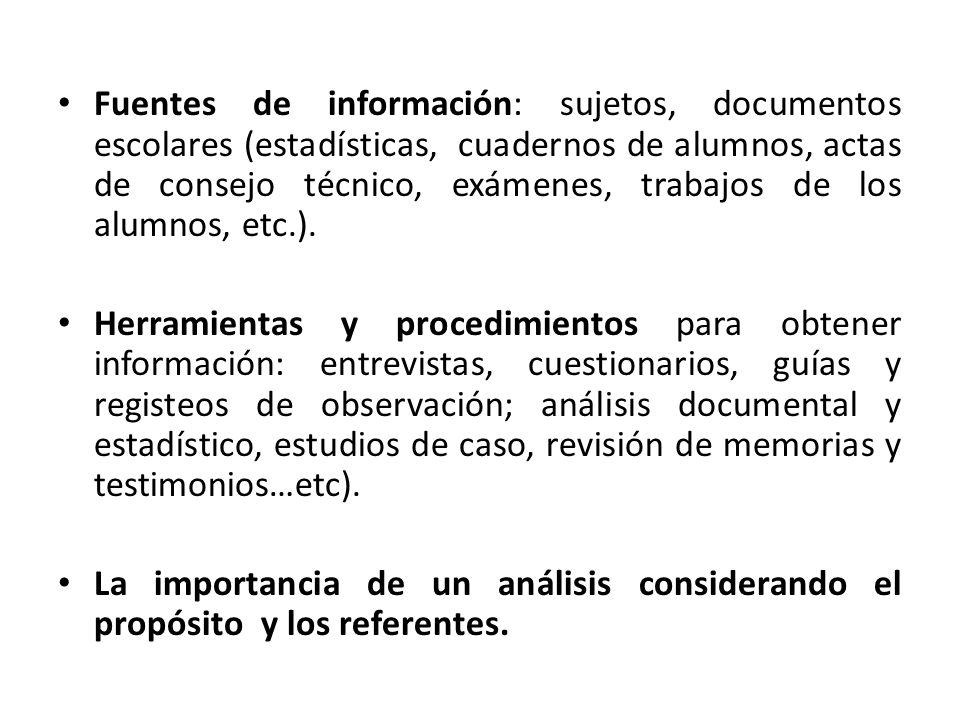 Fuentes de información: sujetos, documentos escolares (estadísticas, cuadernos de alumnos, actas de consejo técnico, exámenes, trabajos de los alumnos, etc.).