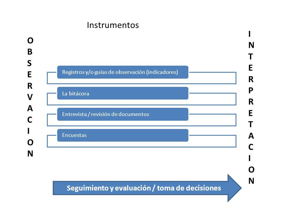 Seguimiento y evaluación / toma de decisiones
