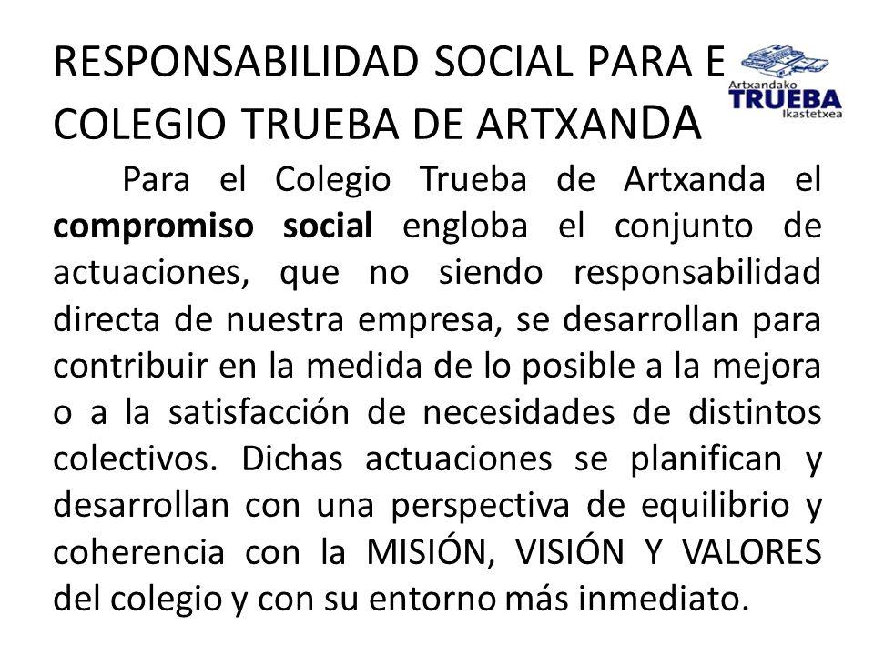 RESPONSABILIDAD SOCIAL PARA EL COLEGIO TRUEBA DE ARTXANDA