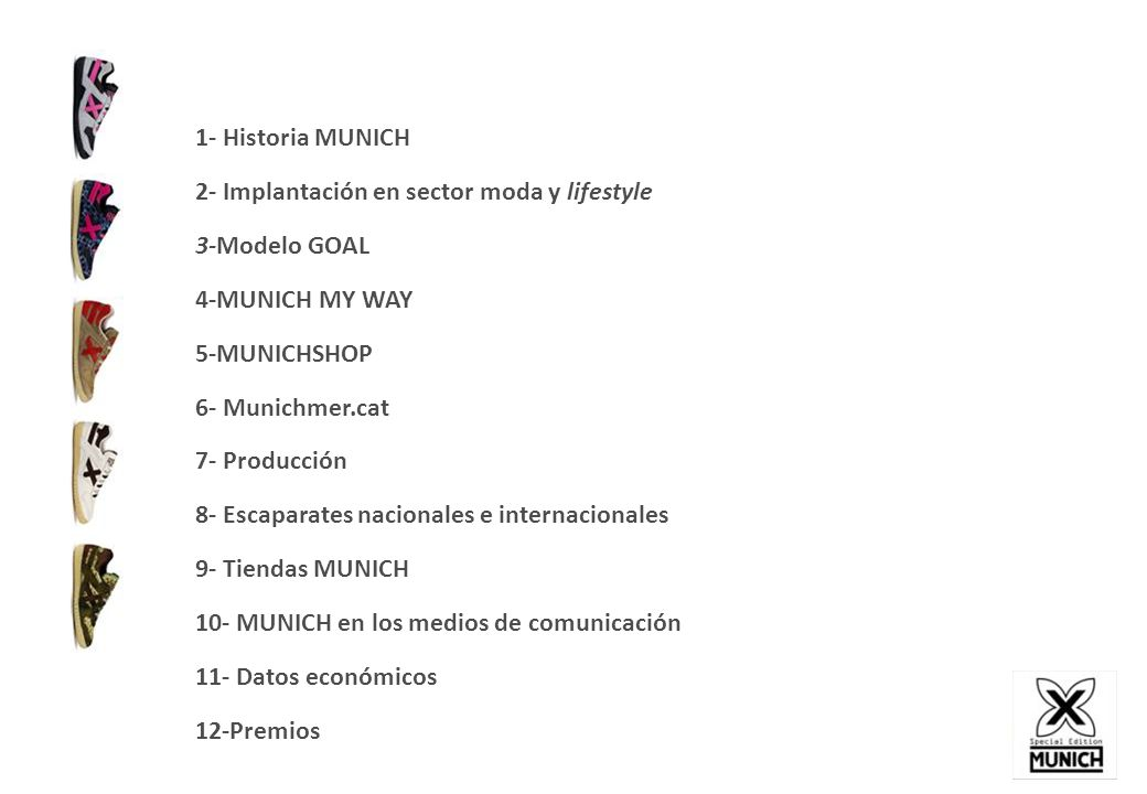 1- Historia MUNICH 2- Implantación en sector moda y lifestyle. 3-Modelo GOAL. 4-MUNICH MY WAY. 5-MUNICHSHOP.
