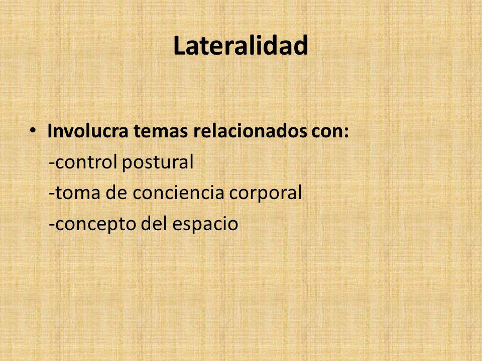 Lateralidad Involucra temas relacionados con: -control postural