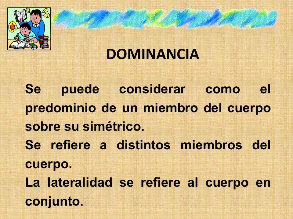 DOMINANCIA Se puede considerar como el predominio de un miembro del cuerpo sobre su simétrico. Se refiere a distintos miembros del cuerpo.