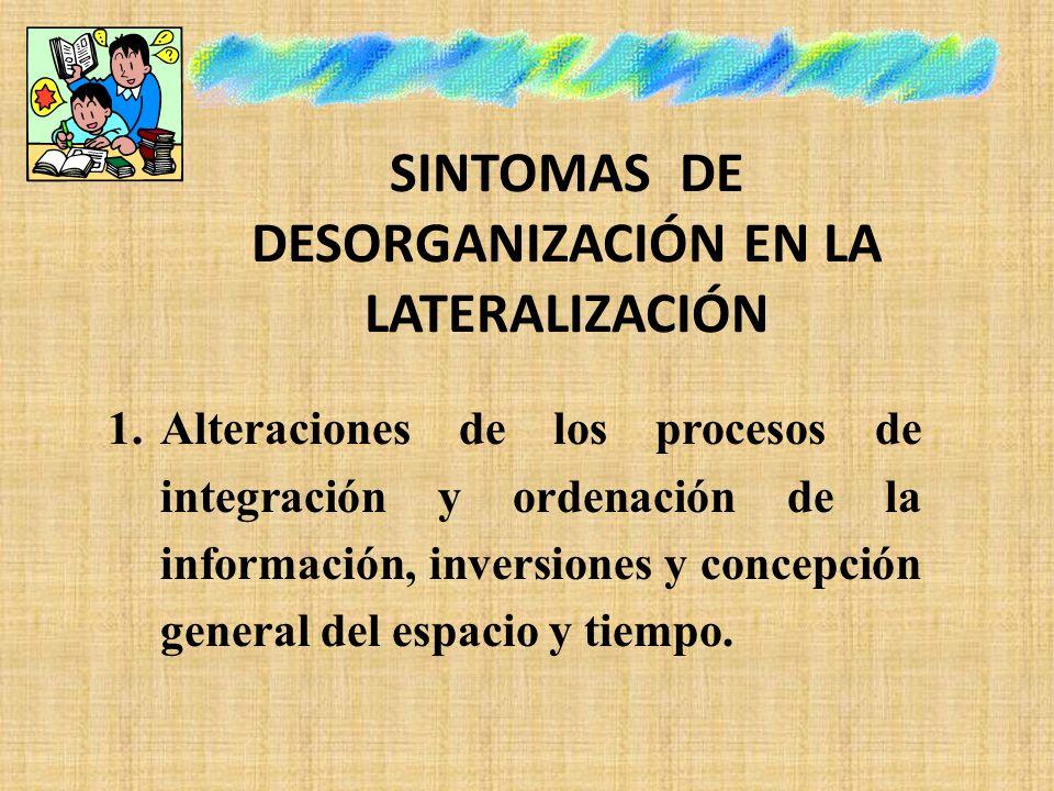 SINTOMAS DE DESORGANIZACIÓN EN LA LATERALIZACIÓN