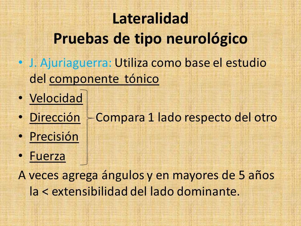 Lateralidad Pruebas de tipo neurológico