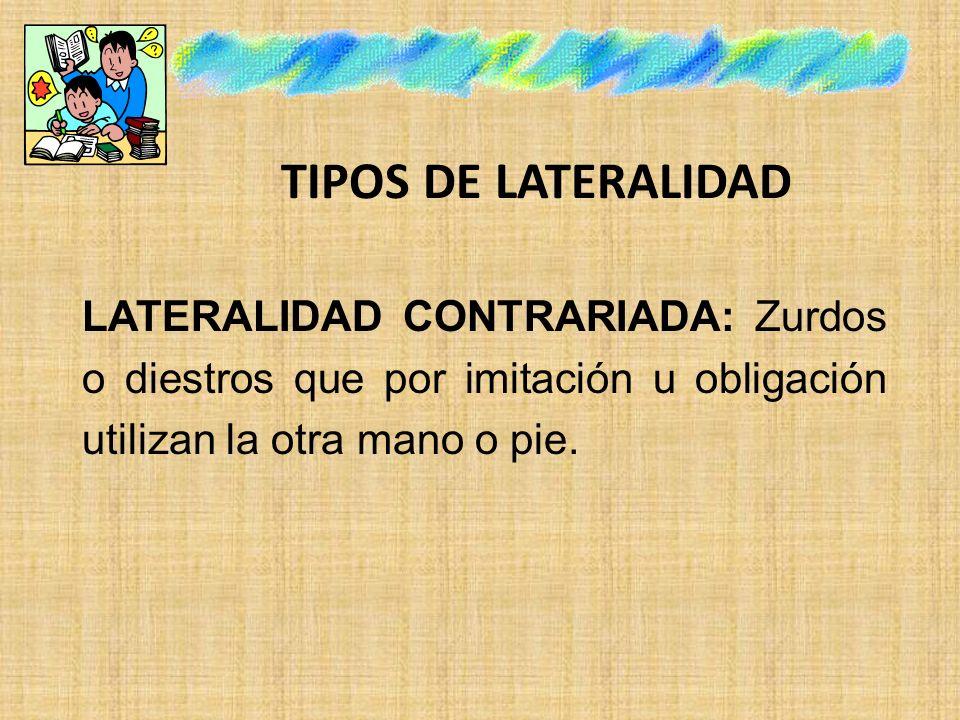 TIPOS DE LATERALIDAD LATERALIDAD CONTRARIADA: Zurdos o diestros que por imitación u obligación utilizan la otra mano o pie.