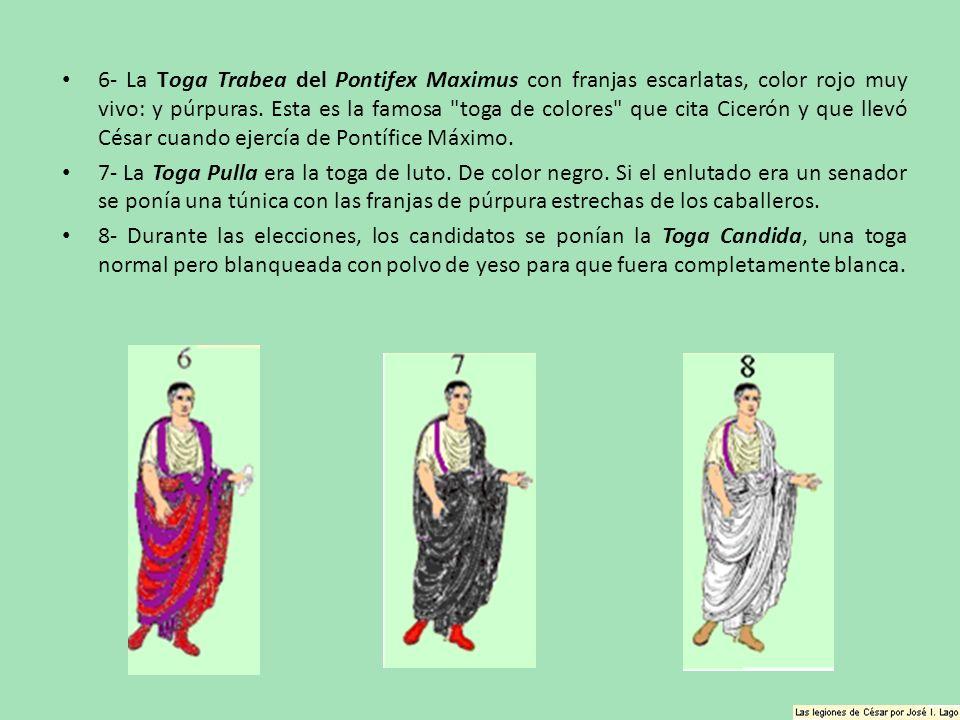 6- La Toga Trabea del Pontifex Maximus con franjas escarlatas, color rojo muy vivo: y púrpuras. Esta es la famosa toga de colores que cita Cicerón y que llevó César cuando ejercía de Pontífice Máximo.